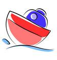 little boat on sea on white background vector image