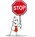 man and stop sign vector image