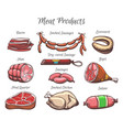 meat products hand drawn color vector image