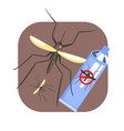 mosquito insect and mosquito repellent spray blue vector image vector image