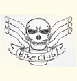 motorcycle patch skull design sketch style vector image