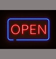 neon open sign light isolated on dark red b vector image vector image