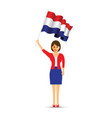 netherlands flag waving woman vector image vector image
