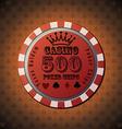 Poker chip 500 on orange background vector image vector image