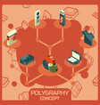 polygraphy color isometric concept icons vector image vector image