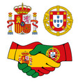 portugal and spain coat arms handshake vector image