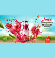 realistic pomegranate juice bottle splash a vector image