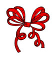 red wrapping bow hand drawn sketch vector image vector image