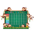 school timetable template with monkeys vector image vector image