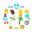 sea tour icons set cartoon style vector image vector image