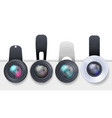 set of clip-on lenses for mobile devices vector image vector image