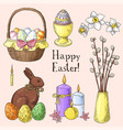 set of hand drawn easter symbols vector image