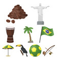 set of icons on the subject of brazil brazilian vector image vector image