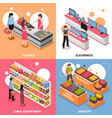 supermarket isometric concept icons set vector image vector image