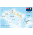 turks and caicos islands map with flag vector image vector image