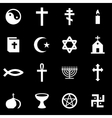 white religion icon set vector image vector image