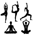 Yoga poses icon set vector image vector image