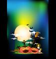 scarecrow and halloween pumpkin at night vector image