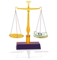 unbalanced silver scale with money vector image