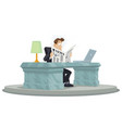 amazed businessman reads newspapers successful vector image vector image