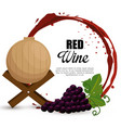 best wine grapes and barrel label vector image
