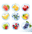 big collection icons fruit in a water splash vector image vector image