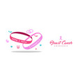 breast cancer care pink charity bracelet banner vector image vector image