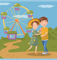 couple in love hugging while walking happy young vector image vector image