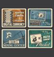 cryptocurrency bitcoin market digital money mining vector image vector image