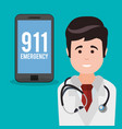 doctor smartphone 911 emergency vector image