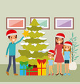 family together decorating christmas tree and vector image