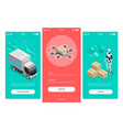 fast delivery isometric banners vector image vector image