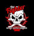 fighter skull cross bone hand drawingshirt vector image