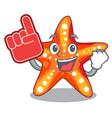 foam finger underwater sea in the starfish mascot vector image vector image
