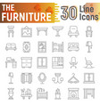 furniture thin line icon set interior symbols vector image vector image