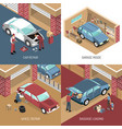 garage isometric design concept vector image vector image