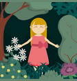 girl in the forest vector image vector image