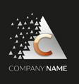golden letter c logo in silver pixel triangle vector image vector image