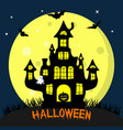 happy halloween black witch s castle in the vector image