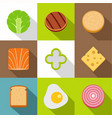 healthy food icons set flat style vector image vector image