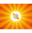 Hot Dog on orange background vector image vector image