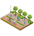 isometric people relaxing and walking in park vector image vector image