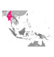 map of burma or myanmar pink highlighted vector image vector image