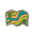 map with route river and fir trees in doodle vector image