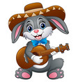 mexican bunny playing guitar and serenading with w vector image