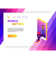 mobile phone social media internet landing page vector image