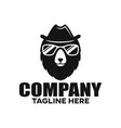 modern bear in a hat and glasses logo vector image vector image