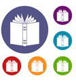 open thick book icons set vector image vector image