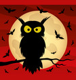 owl on a tree branch and bats vector image