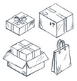 parcel and box present and shopping bags set vector image vector image